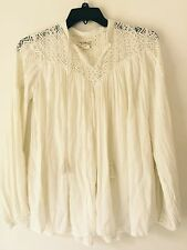 Denim & Supply Ralph Lauren Beige Lace-Yoke Cotton Gauze Top. Size XS.  $125.00