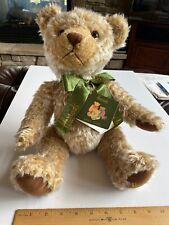 Harrods Knightsbridge Teddy Bear Plush Brown Beige Green Ribbon Bow New W/Tags