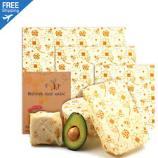Natural Reusable Beeswax Food Wrap -Size Large (7x8,10x11,13x14-inch) Set Of 3