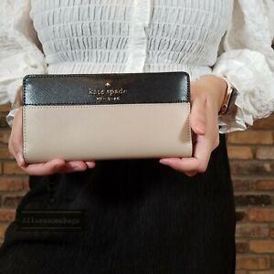 NWT Kate Spade Staci Colorblock Large Slim Bifold Wallet in Warm Beige/Black NEW