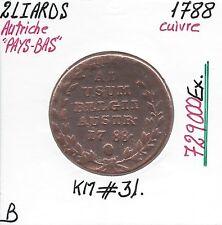 """AUTRICHE """"PAYS-BAS"""" - 2 LIARDS - 1788 - Pièce de Monnaie en Cuivre // Qualité: B"""