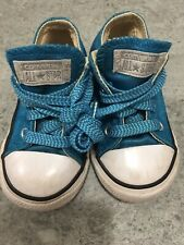 Little Girls Toddler Size 6 Turquoise Converse Sneakers Shoes Metallic!
