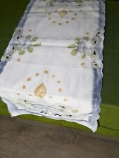 Vintage Christmas Runner Linen Tablecloth Germany New Year Christmas Decoration