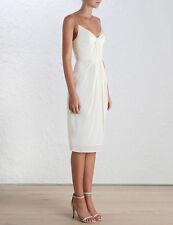 Zimmermann Silk Folded Dress |Cocktail Evening Midi Pearl |Sz 0,1,2,3,4 $480 RRP