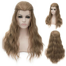 Thor Party Cosplay Fancy Dress Womens Long Brown Hair Curly Wavy Full Wig