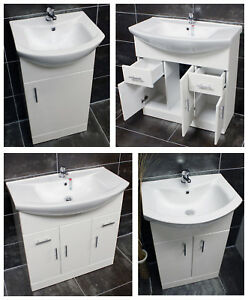 Designer Bathroom Vanity Basin Sink Unit Storage 450 550 650 750 850 1000 White