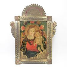 Retablo religious folk art oil painting on tin antique portrait Madonna & Child