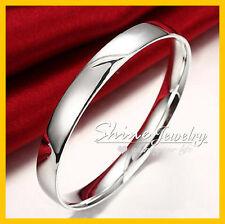 925 Sterling Silver Filled 10MM Wide Plain Chunky Bracelet Bangle 65MM Lady Gift