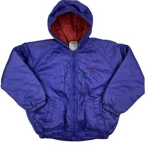 VTG 90s Nike Jacket Youth Boys Girls Sz 7 Lined Warm Hooded Puffer Swoosh