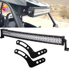 """Curved 30"""" inch 180W LED Light Bar Roll Upper Mount Bracket For UTV Polaris RZR"""