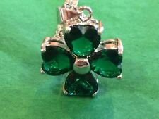 New 18K Gold plated Irish gifts four leaf clover green amethyst necklace!