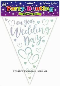 12ft Sparkly White + Silver Foil Wedding Bunting Flag Banner Just Married Decor