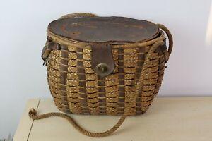 Vintage 1930-40's Wicker Creel Fishing Basket