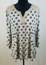Style & Co. womens L beige printed suede bell sleeves tunic top blouse