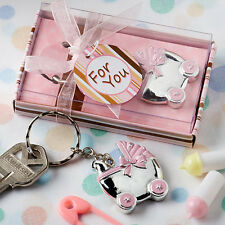 12 Blue or Pink Baby Carriage Key Chain Favors Baby Shower Favor Boy or Girl