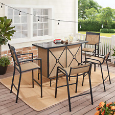 Set Bar Patio Outdoor Furniture Table Chairs 5 Pieces Dining Garden Party Pool