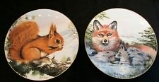 2 Crown Staffordshire Plates - Wildlife in Winter - Early Awakening, Vigilance