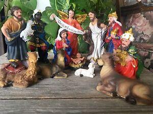 Christmas Nativity Scene Set Figures Polyresin Figurines Baby Jesus-13-PIECE SET