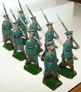 Pre-War BRITAINS 1930s Lead Irish Freestate Infantry Marching, 8 Piece Set #1603
