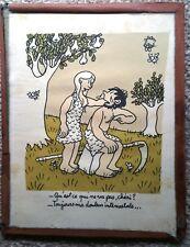 Ancienne Gravure originale l'histoire d'Adam et Eve. Jean EFFEL 1955 environ