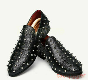Punk Men Rivet Spikes Studs Slip Nightclub Loafers Fashion Retro Shoes Moccasins