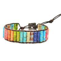 Chakra Armband Schmuck Handgemachte Farbe Natur Stein Rohr Perlen Leder Wic V5T1
