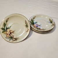 Meito Ivory China Woodrose Saucer with Gold Trim Japan - Set of 3