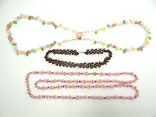 Lot Vintage Used Moon Pink Glass West Germany Costume Jewelry Necklace Beads Old