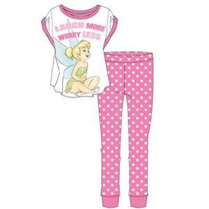 Tinkerbell Ladies Pyjamas Older Girls Fairy Nightwear Loungewear Pink Cotton