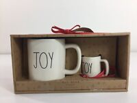 "NEW! RAE DUNN Magenta ""JOY"" Red Ceramic Christmas Mug & Ornament Gift Set"