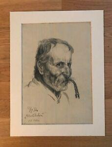 "+ Hugo GRIMM (1866Feldkirch-1944Kitzbühel) "" Bauer mit Pfeife "" Nachlasstempel"