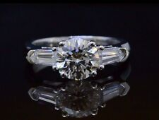 1.50ctw Natural Round Cut w/ Bullet Side Stones Diamond Engagement Ring - GIA