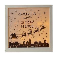 Heaven Sends Christmas Decoration Santa Please Stop Here LED Light Box Ornament