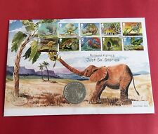GIBRALTAR 1994 PRESERVE PLANET EARTH - ELEPHANTS SILVER PROOF CROWN - coin cover