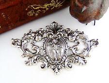 Antique Silver Victorian High Relief Deer Crest Cherub Stamping Oxidized (C-906)