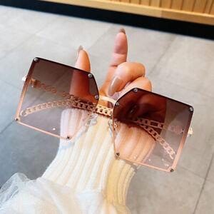 Luxury Oversized Square Sunglasses Women Vintage Gradient Shades Glasses UV400