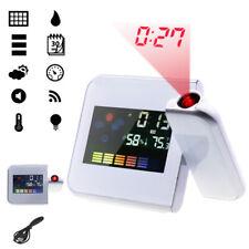LCD Radiowecker Funkuhr LED,USB, Funkwecker Snooze Alarm Tischuhr mit Projektion
