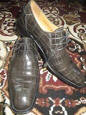 Mezlan Platinum Collection $1000+ Grey Crocodile Alligator Oxford Shoe 11 M EUC