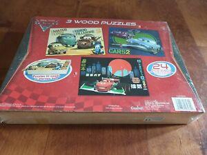 'Disney Cars 2' Wooden Jigsaws x3 UNUSED/ SEALED IN WOODEN PRESENTATION BOX
