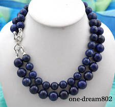 "2row 20"" 14-16mm round blue Lapis Lazuli necklace"