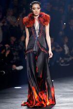 Roberto Cavalli Flame Print Silk Maxi Skirt (40)