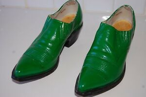 VINTAGE NOGONA BOOTS GREEN LEATHER POINTED TOE SHORT ANKLE BOOTS/SHOES