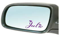 2X PERSONALISED NAME car stickers/decals MIRROR