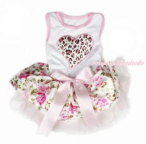 Valentine Pink Leopard Heart White Sleeveless Pink Bow Rose Skirt Dog Dress