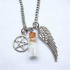 Collar de protección sobrenatural * con alas de ángel Pentagrama Sal Botella + Bolsa
