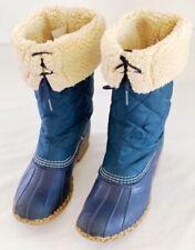 LL Bean Women's Blue Quilted Sherpa Fleece Lined Tall Duck Boots Size 7 M