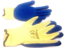 12 Pair RONSOM HEAVY DUTY BLUE GARDEN-GLOVES-RUBBER-LATEX-COATED-GLOVES