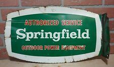 1950s Springfield Outdoor Power Equipment Double Sided Flange Sign Gas Oil Ad
