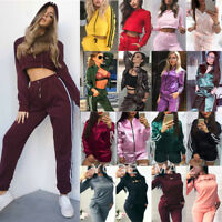 2Pcs Womens Tracksuit Hoodies Sweatshirt Jogger Pants Set Sportswear Casual Suit