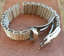 Small Wrist 22mm ALL BRUSHED Shark Stainless Steel Mesh Watch Band Solid Buckle